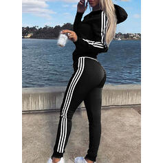 Solid Striped Plus Size Casual Sporty Suits