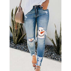 Patchwork Print Plus Size Ripped Christmas Sexy Vintage Denim & Jeans