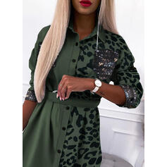 Print/Sequins/Leopard Long Sleeves Sheath Above Knee Casual Shirt Dresses