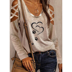 Animal Print Cold Shoulder Long Sleeves Casual Blouses