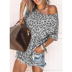Leopard Round Neck Short Sleeves Casual T-shirts
