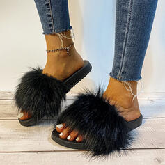 Women's Fake fur Flat Heel Sandals Flats Peep Toe Slippers With Solid Color shoes