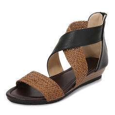 Women's Leatherette Flat Heel Sandals With Hollow-out Braided Strap shoes