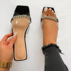 Women's PU Flat Heel Sandals Flats Peep Toe Slippers Square Toe With Rhinestone shoes