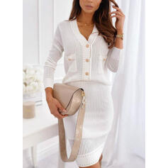 Solid Long Sleeves Bodycon Above Knee Elegant Sweater Dresses