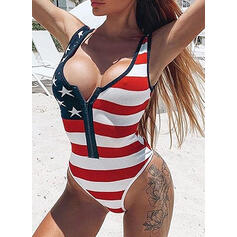 Flag Star Print Strap V-Neck Sexy Vintage One-piece Swimsuits