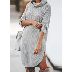 Solid Long Sleeves Shift Knee Length Casual Sweater Dresses