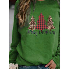 Print Round Neck Long Sleeves Christmas Sweatshirt