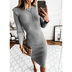 Solid/Backless Long Sleeves Bodycon Knee Length Little Black/Sexy Sweater Dresses