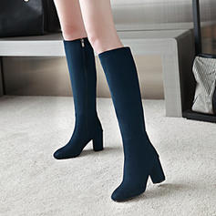 Women's Suede Chunky Heel Pumps Knee High Boots With Others shoes