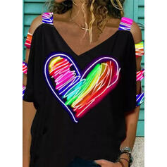 Print Heart Cold Shoulder 1/2 Sleeves Casual Blouses
