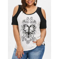 Print Heart Cold Shoulder Short Sleeves Casual Plus Size Blouses