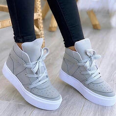 Women's PU Flat Heel Boots Ankle Boots Low Top With Lace-up Solid Color shoes