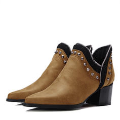 Women's Leatherette Chunky Heel Closed Toe Boots Ankle Boots With Rivet shoes