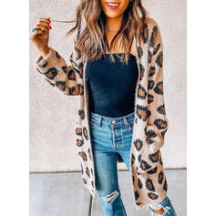 Pocket Leopard Casual Long Cardigan