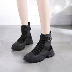 Women's Real Leather Wedge Heel Boots With Lace-up shoes
