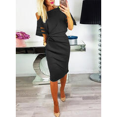 Solid 1/2 Sleeves Bodycon Knee Length Little Black/Casual Pencil Dresses