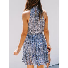 Print Sleeveless A-line Above Knee Casual/Vacation Skater Dresses