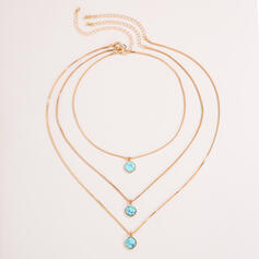 Fashionable Sexy Vintage Classic Alloy With Gold Plated Women's Ladies' Necklaces 3 PCS