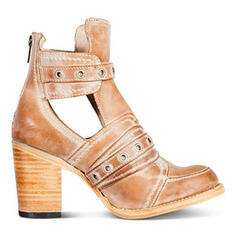 Women's PU Chunky Heel Boots With Buckle Hollow-out Solid Color shoes
