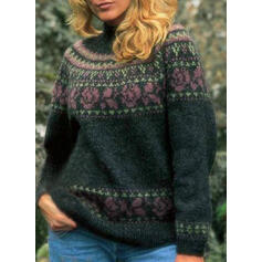 Print Floral Stand Collar Casual Sweaters