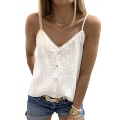 Solid Lace Spaghetti Strap Sleeveless Button Up Casual Tank Tops
