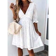 Solid 1/2 Sleeves A-line Knee Length Little Black/Casual/Vacation Skater Dresses
