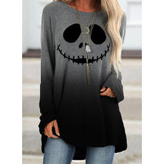 Print Halloween Gradient Round Neck Long Sleeves Sweatshirt