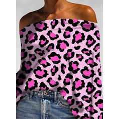 Leopard Off the Shoulder Long Sleeves Casual Blouses