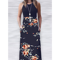 Print/Floral Sleeveless A-line Casual Maxi Dresses