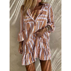 Print Long Sleeves/Flare Sleeves Shift Above Knee Casual Tunic Dresses