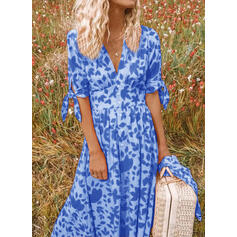 Print 1/2 Sleeves A-line Skater Casual/Vacation Midi Dresses