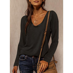 Solid Round Neck Long Sleeves Casual Basic T-shirts