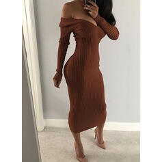 Solid Long Sleeves Bodycon Sweater/Pencil Little Black/Casual/Elegant Midi Dresses