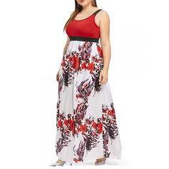 Plus Size Floral Print Sleeveless A-line Maxi Casual Dress