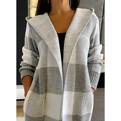 Color Block Pocket Hooded Casual Long Cardigan