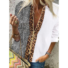 Print Leopard V-Neck Long Sleeves Casual Shirt Blouses