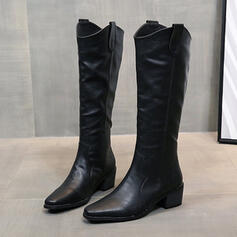 Women's PU Chunky Heel Boots Knee High Boots Pointed Toe With Solid Color shoes
