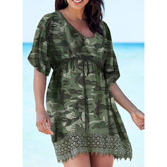Plus Size Lace Print 1/2 Sleeves A-line Above Knee Casual Vacation Dress