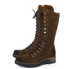 Women's Leatherette Chunky Heel Mid-Calf Boots Martin Boots Round Toe With Lace-up Solid Color shoes
