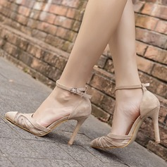Women's Suede Mesh Stiletto Heel Pumps Closed Toe With Buckle shoes