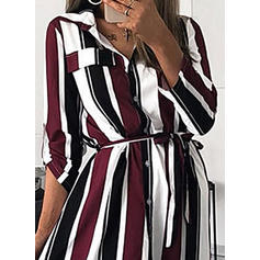 Striped Long Sleeves A-line Elegant/Vacation Maxi Dresses