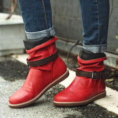 Women's PU Flat Heel Ankle Boots Round Toe With Buckle Splice Color shoes