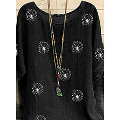 Print Round Neck Short Sleeves Casual Blouses