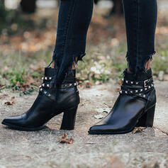 Women's Leatherette Chunky Heel Ankle Boots Pointed Toe With Rivet Zipper shoes