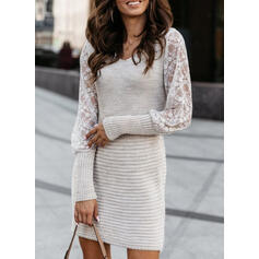 Lace Long Sleeves Sheath Above Knee Casual Sweater Dresses