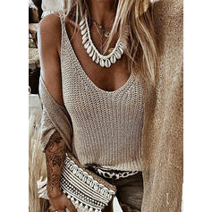 Solid Round Neck Casual Vest/Sleeveless