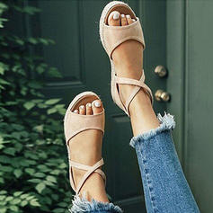 PU Flat Heel Sandals With Lace-up shoes