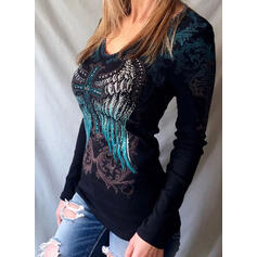 Print Beaded V-Neck Long Sleeves Casual Knit T-shirts