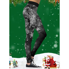 Estampado Natal Desportivo Ioga Leggings
